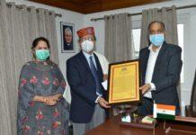 CM honours Dr. Jagat Ram with Himachal Gaurav Purskar-2019