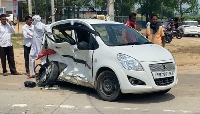 Nine people injured in a road accident in Fatehabad of Haryana