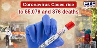 In the last 24 hours Coronavirus Spike of 55,079 cases | 876 deaths reported in India