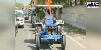 Punjab Chakka Jam: Sukhbir, Harsimrat use tractor to join farmers' protest