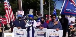 Sikh community furious over few Sikhs for wearing shoes while doing Ardas for Trump