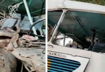 Bus and truck collides