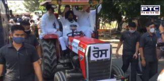 Farm Bill 2020 : SAD MLAs protest SAD Tractor march of Punjab Vidhan Sabha