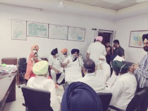 Sukhbir Singh Badal, Harsimrat Kaur Badal among others inside the Sector 17 police station