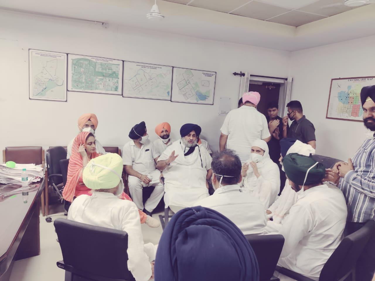 Sukhbir Singh Badal, Harsimrat Kaur Badal among others inside the Sector 17 police station