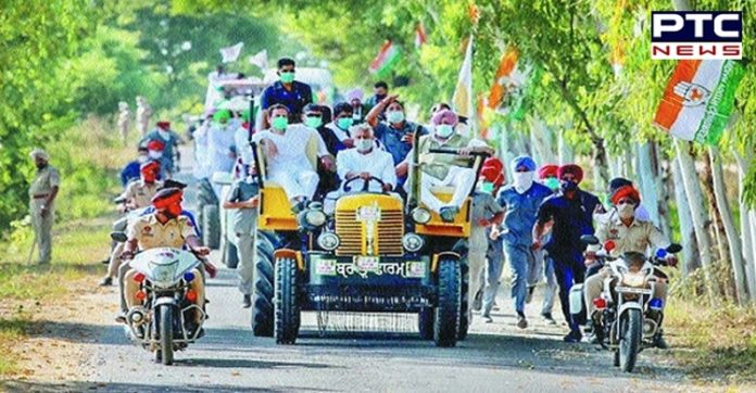rahul gandhi tractor rally