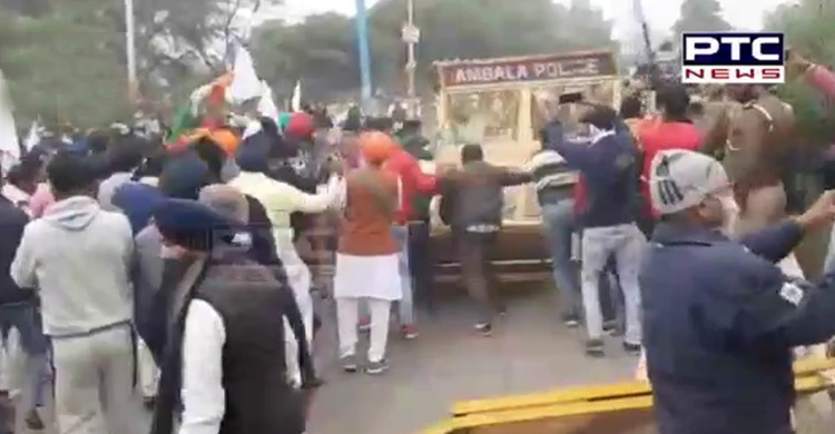 Haryana Police resorted to water cannon to disperse Punjab farmers in Ambala who gathered for 'Dilli Chalo' agitation against farm laws 2020.