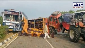Farmers to Delhi Road Accident, bus and truck With Collision