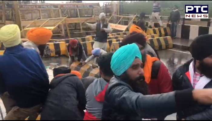 Punjab farmers break barricade at Shambhu border: Farmers heading towards Delhi to protest against the farm laws 2020. Dilli Chalo' agitation