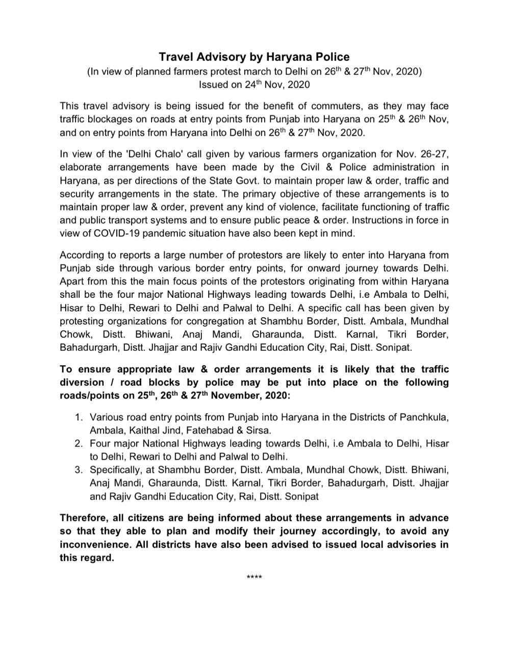 Haryana Police Travel Advisory