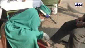 Medical check-up camp setup at Singhu Border farmers protesting