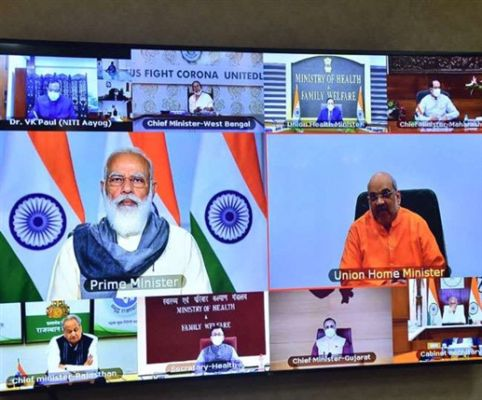 PM Narendra Modi chaired review meeting with CMs of States, UTs to review COVID-19 response and management.