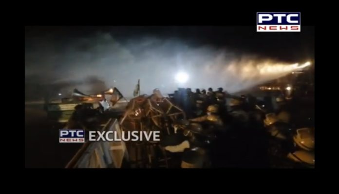 Farmers Protest In Delhi : Water Cannon on Punjab Farmers at midnight in Sonipat