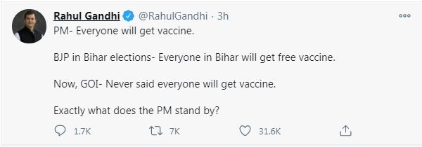 Coronavirus Vaccine in India: Rahul Gandhi lashed out at Narendra Modi government after health ministry said no plan to vaccinate everyone.