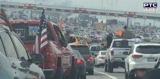 """Convoy of vehicles carries """"Kisan solidarity rally"""" in support of farmers in California"""