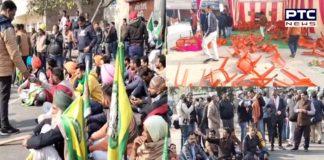 Farmers protest against BJP leaders in Bathinda ,Breaking of chairs