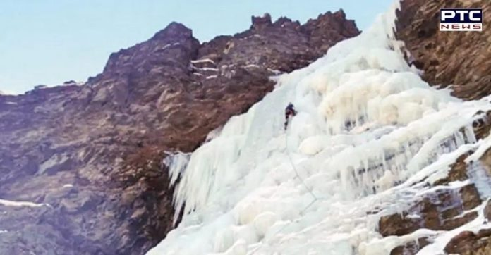 Himachal Pradesh: Frozen waterfalls attract ice climbers to Lahaul valley