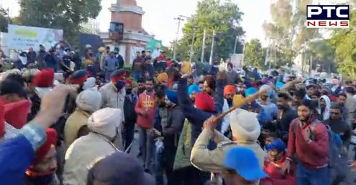 Police Lathicharge Teachers During March to Moti Mahal in Patiala