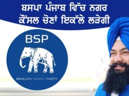BSP will contest the Municipal Council elections in Punjab alone on an elephant's symbol