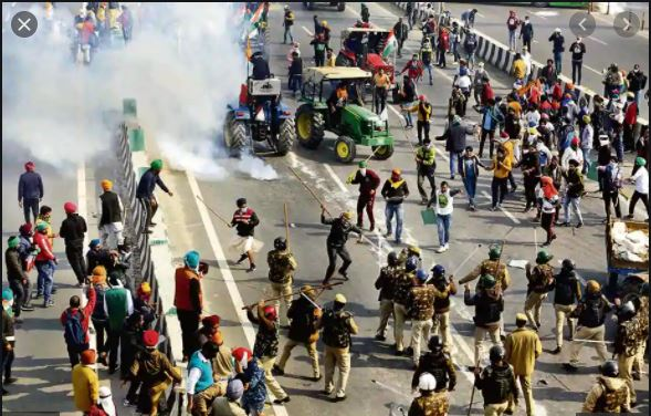 Delhi Police pasted on the tent to BKU leader Rakesh Tikait post tractor rally violence