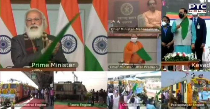 PM Narendra Modi flags off 8 trains facilitating rail connectivity to Statue of Unity