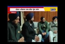 Sukhbir Singh Badal arrives at the house of late Pandit Balmukand Sharma