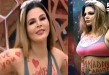 Bigg Boss 14: Rakhi Sawant writes 'I Love Abhinav' all over her body