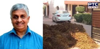 youths threw cow dung at the house of former BJP cabinet minister Tikshan Sood
