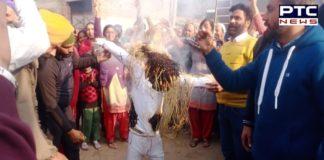 Unemployed Sanjha Morcha burnt effigy of Punjab education minister Vijay Inder Singla