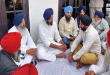 Bikram Singh Majithia at Bhoma village of Majitha, grief with family of martyred farmer Tarsem Singh Khalsa
