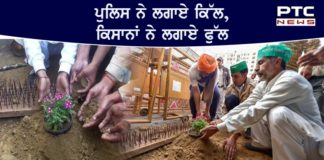 Farmers at Ghazipur plant flowers in response to 'iron nails'