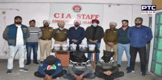 Jalandhar police arrested 3 robbers after encounter , 2 pistols and looted amount recovered