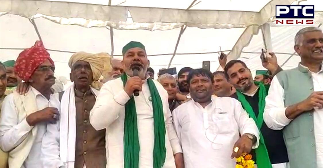 Farmers gathered at Bahadurgarh in Haryana for Mahapanchayat where Joginder Singh Ugrahan, Gurnam Singh Charuni, and Rakesh Tikait were present.