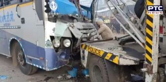 PRTC and Canter between collision at Channon bus stand, driver and passengers injured