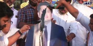 Farmers Protest: Congress workers pour black oil on a cut-out of Sachin Tendulkar