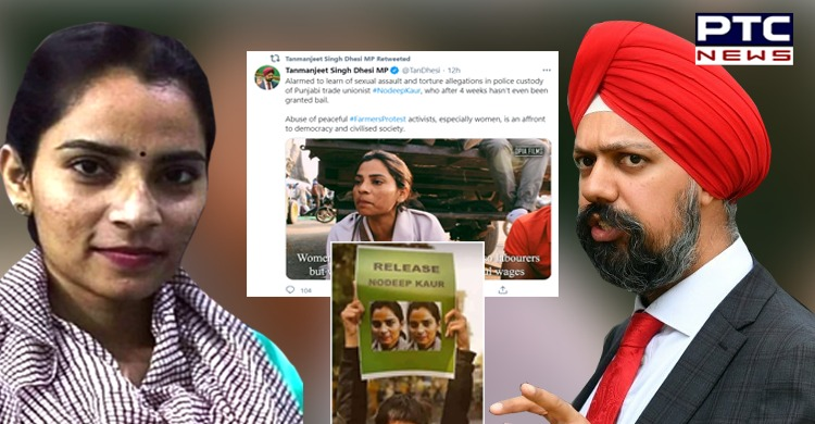 Tanmanjit Dhesi expresses concern over arrest of Indian labour rights activist Nodeep Kaur