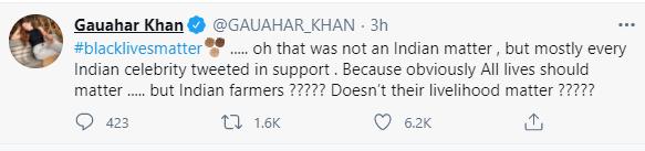 Gauahar Khan questioned criticism of international celebs including Rihanna and Greta Thunberg using 'Black Lives Matter'.