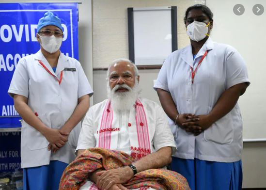 PM Narendra Modi took his first dose of COVID-19 vaccine at AIIMS Delhi. He was administered Bharat Biotech's COVAXIN.