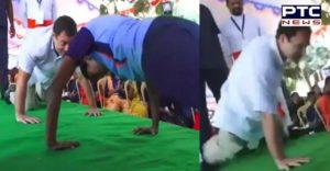Watch: Congress leader Rahul Gandhi does push-ups before school students