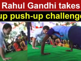 Watch: Congress leader Rahul Gandhi does push-ups before school students
