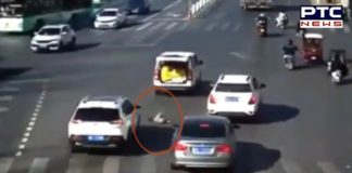 Toddler fell from moving car, see what happened next