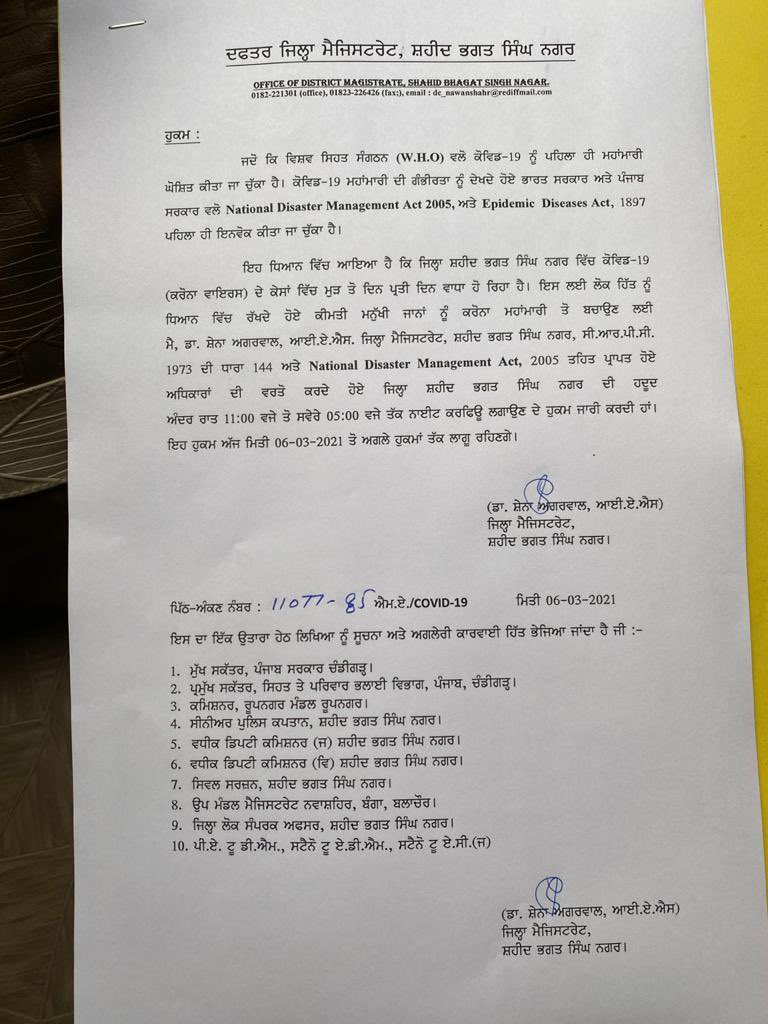 Coronavirus Punjab: Amid a spike in COVID-19 cases, night curfew imposed in Jalandhar and SBS Nagar; here are timings regarding the same.