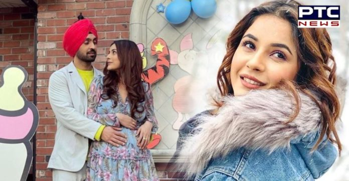 Shehnaaz Gill flaunts baby bump in a picture with Diljit Dosanjh from sets of Honsla Rakh