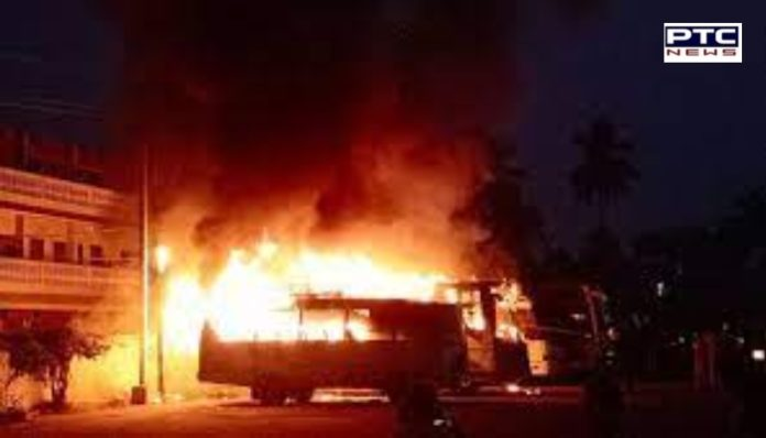Madhya Pradesh : Seven buses gutted in fire at Damoh bus stand