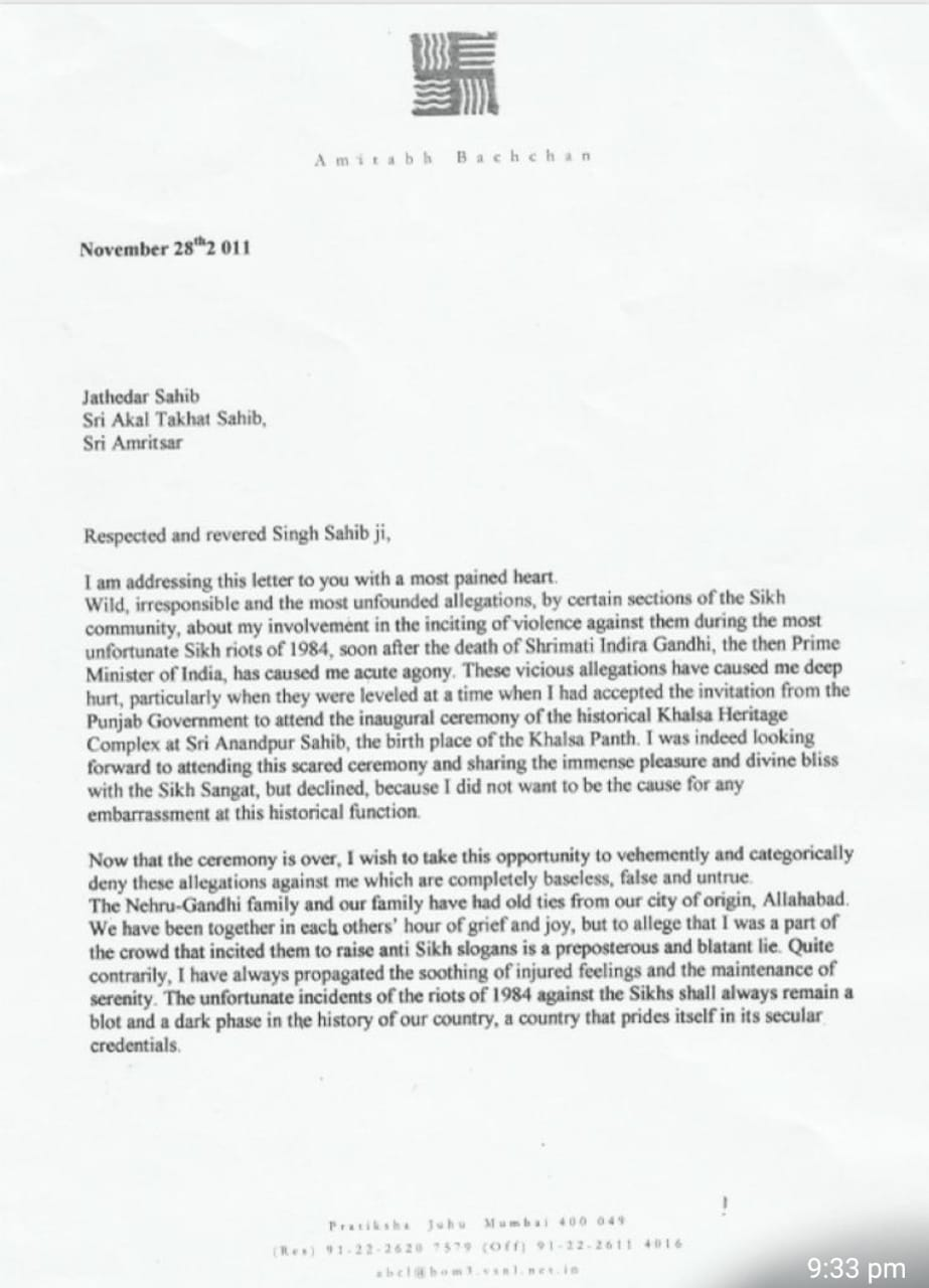 A letter was sent by Amitabh Bachchan to Sri Akal Takhat Sahib in 2011 came to light in which he denied accusation against him regarding 1984 Sikh riots.