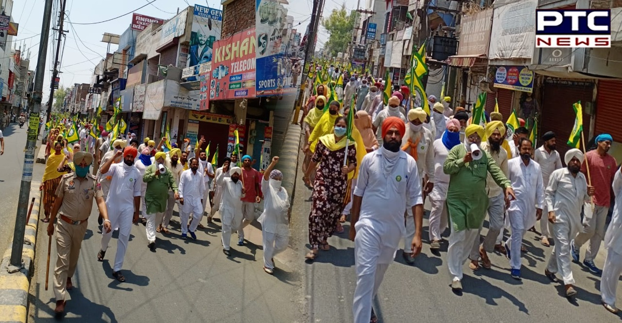 Farmers held protest marches at several places in Punjab against weekend lockdown enforced amid a rise in COVID-19 cases and fatalities.