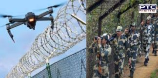 Ajnala: Indo-Pak border drone from the Pakistani side , Returned after firing byBSF jawans