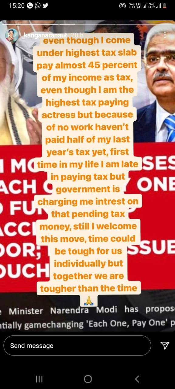 """Bollywood actress Kangana Ranaut said despite being """"highest-paid actress"""" in Bollywood, she was unable to pay her tax."""