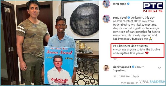 Sonu Sood praises fan who walked from Hyderabad to Mumbai just to meet him