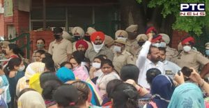 The teachers reached outside the education department's building in Mohali where five teachers climbed the 7th floor with petrol bottles.